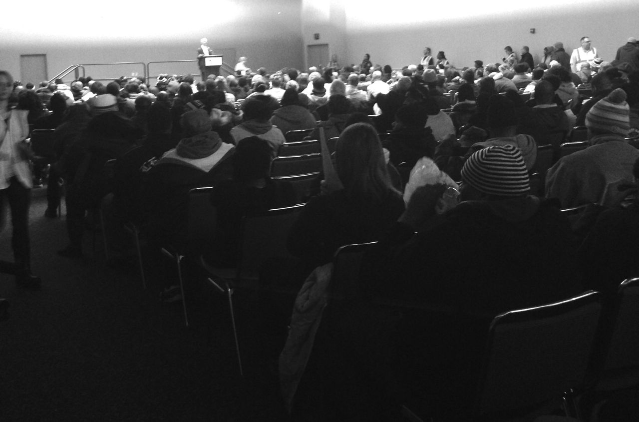 Hundreds of people at a time are shuttled through the massive Show Cause hearings at Detroit's Largest Convention Center, Cobo Hall